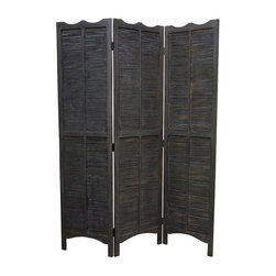MADRAS SCREEN - 3 panel paulownia brown fram with natural  bamboo screen. It's can be used indoor/covered out door setting.