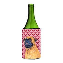 Caroline's Treasures - Mastiff Hearts Love and Valentine's Day Portrait Wine Bottle Koozie Hugger - Mastiff Hearts Love and Valentine's Day Portrait Wine Bottle Koozie Hugger SS4520LITERK Fits 750 ml. wine or other beverage bottles. Fits 24 oz. cans or pint bottles. Great collapsible koozie for large cans of beer, Energy Drinks or large Iced Tea beverages. Great to keep track of your beverage and add a bit of flair to a gathering. Wash the hugger in your washing machine. Design will not come off.