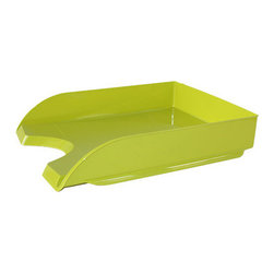 """CepPro Gloss Lime Green Letter Tray - Jazz up your space with the Cep Pro Gloss line of colorful desk accessories. Full of character and vivaciousness, these pieces will set your office space apart from the everyday humdrum. Work in color. The design of the letter tray is sleek and modern. Use one or stack multiples. Two or more can be staggered for easy access to lower tray contents. Go with one color or mix it up. It's your space. Mix and match with other Cep cute desk accessories. Desktop organizer, pencil cup, magazine file sold separately. Lightweight plastic is made from 100% recyclable material. 13.7""""L X 10.1""""W X 2.6""""H"""