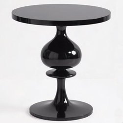 """turned wood pedestal table - black - I never thought something I could call """"bulbous"""" could also be so sexy. This shapely side table has cocktail personality and Regency nightstand lines."""