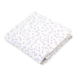 Auggie Home Collection - Astrid Crib Sheet - Lilac is the new pink. Sweet little lilac flowers adorn this soft fitted crib sheet. Can be paired with our Natasha baby bedding collection for girls and lilac stitch accent pieces.