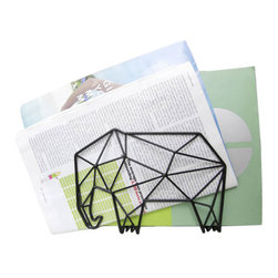 Elephant Geometry - Wall or Desk Letter Holder - Whether you mount this mouse-fearing elephant to a wall or place it on your desk, this geometric creature will continue to please the eye while keeping you organized. And when this little guy is mounted with the included hardware, its steel trunk becomes an excellent place to hang your keys.