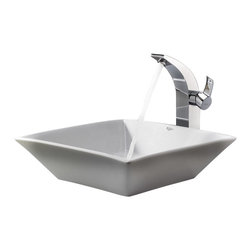 Kraus - Kraus C-KCV-125-14700CH White Square Ceramic Sink and Illusio Faucet - Add a touch of elegance to your bathroom with a ceramic sink combo from Kraus