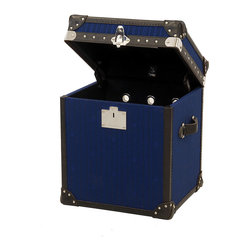 Baron Side Table Trunk - Blue jacguard body old saddle black leather trim, shiny steel nails and lock with black canvas lining.