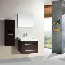 Kokols - Kokols Wall-mount Floating Bathroom Vanity Set - This Kokols Bathroom Vanity set presents modern and functional design. A ceramic vessel basin rests above the Malaysian oak cabinet. The drop in ceramic sink allows flexibility to match and enhance a variety of bathroom designs.