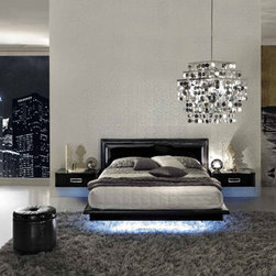 La Star Bedroom in Black Lacquer Finish - Modern Style Bedroom Set
