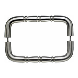 "Top Knobs - Nouveau Ring Back to Back Door Pull - Brushed Satin Nickel - Length - 8 3/4"", Width - 3/4"", Projection - 2 1/2"", Center to Center - 8"", Base Diameter - 3/4"""