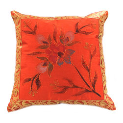 Banarsi Designs - Hand Painted Floral Pillow Cover, Set of 2, Golden Orange - Transform your pillows into a piece of art with our gorgeous floral Hand Painted Deluxe Pillow Cover Set from our Banarsi Designs collection.