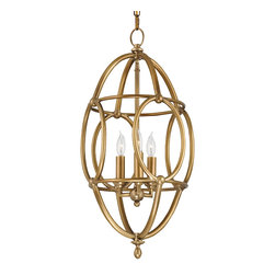 Kathy Kuo Home - Zenobe Hollywood Regency Antique Brass Egg Shape Pendant - The elusive brass ring becomes an elegant, egg-shaped pendant, holding three illuminating candelabra lights. With graceful curves and smooth lines, this bold beauty beckons a warm welcome in an entryway, living room or bedroom.