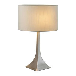 Adesso - Adesso Luxor Tall Table Lamp, Steel - 6364-22 - Each elegant pyramid shaped square steel base has a white silk-like fabric drum shade