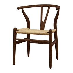 Wholesale Interiors - Wishbone Wood Y Chair in Dark Brown Finish - Set of 2 - This dining chair features traditional wood and is paired with a modern design, resulting in a unique piece for your home. The frame consists of solid wood with a natural finish, a comfortably-curved backrest, and sturdy natural hemp seat. This item will arrive fully assembled, and is also available in a lighter brown wood stain. This is a quality reproduction of the Hans Wegner Wishbone Chair, which is also known as the Wegner Y Chair, Carl Hansen Wishbone Chair, CH24 Wishbone Chair, and the Wegner CH24.