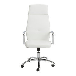 Euro Style - Euro Style Napoleon High Back Office Chair 01290WHT - Napoleon said 'an army marches on its stomach' citing the strength of good nutrition in the field of battle. In an office, we say 'the army works on very comfortable chairs'. Napoleon office chairs, high back and low. Arm your staff with these bold and sturdy chairs and discover how comfort conquers all.
