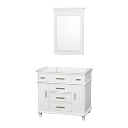 """Wyndham Collection - Berkeley 36"""" White SGL Vanity, No Top, and No Sink, 24"""" Mrr - If your bathroom's asking you for a facelift, the Berkeley is a worthy choice. At once elegant, classic and contemporary, the Berkeley vanity lends an air of sophistication and charm to any bathroom, from a Soho penthouse to a rustic country home. Carefully hand built to last for decades and finished in Dark Chestnut or White, this solid wood vanity has counter options to compete the timeless look."""