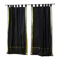 Indian Selections - Pair of Black Tab Top Sheer Sari Cafe Curtains, 43 X 24 In. - Size of each curtain: 43 Inches wide X 24 Inches drop .