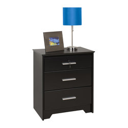 Prepac - Prepac Coal Harbor Black 24 Inch 3-Drawer Tall and Wide Nightstand with Lock - Got everyday items you don't want out in the open? the coal harbor 3 drawer tall & wide nightstand with lock is the perfect urban companion to your privacy needs. In one trendy package, this bedside table offers three inset drawers, two full-sized and one shallow. The top drawer comes fitted with a lock to enhance your personal privacy. Secure yet convenient, it's your all-in-one solution. Combine it with other items in the coal harbor bedroom collection for a complete look!