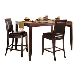 American Drew - American Drew Tribecca 5-Piece Gathering Table Set in Root Beer Color - The Tribecca mixes it up with modern, Art Deco, and Asian influences. Lighter scaled, with classic clean lines and pared down forms, Tribecca's inviting textures, rich wood tones and nickel finish hardware could be just the fresh look you've been trying to imagine for the new retirement condo on the shore or a trendy city loft.