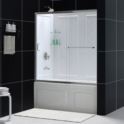 """Dreamline - Infinity-Z 56 to 60"""" Frameless Sliding Tub Door & QWALL-Tub Backwalls Kit - The INFINITY-Z tub door and Backwall Kit offers a beautiful solution for a bathroom remodeling project. The sliding tub door is paired with a stationary glass panel to provide a comfortably wide bath entry. The stationary panel of the INFINITY-Z sliding tub door is fitted with a convenient towel bar that doubles as a handle. The kit pairs the sliding tub door with versatile backwall panels made from durable Acrylic/ABS advanced materials. The tub wall panels have an attractive tile pattern and are easy to install with a trim-to-size fit. Transform your bath tub space with an efficient and cost effective kit from DreamLine."""
