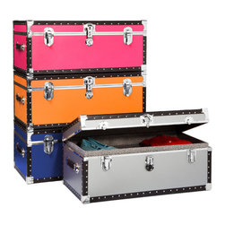 Footlocker with Tray - Add a splash of color to  your storage with these Footlockers. They're sturdy enough to double as luggage, and provide plenty of room for clothes, books, or whatever else needs an attractive place to hide. The exterior is covered in a colored heavy vinyl, all hardware is nickel-plated, and both handles are made of genuine leather. It comes with a push button key lock for extra security — just in case you need to hide anything from prying eyes.