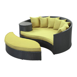 Modway Furniture - Modway Taiji Daybed in Espresso Peridot - Daybed in Espresso Peridot belongs to Taiji Collection by Modway Harmonize inverse elements with this radically pleasing daybed set. Seven plush throw pillows adorn Taiji's thick all weather orange cushions allowing for the splendorous blending of mediating elements. Find the key to attainment as you bask in a charged and unified landscape of expansiveness. Set Includes: One - Taiji Outdoor Wicker Patio Daybed One - Taiji Outdoor Wicker Patio Ottoman Seven - Taiji Outdoor Wicker Patio Throw Pillows Daybed (1), Ottoman (1)
