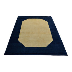 Gabbeh Oriental Rug, 4'X6' Hand Knotted 100% Wool Ivory / Navy Area Rug SH12257 - Our Modern & Contemporary Rug Collections are directly imported out of India & China.  The designs range from, solid, striped, geometric, modern, and abstract.  The color schemes range from very soft to very vibrant.