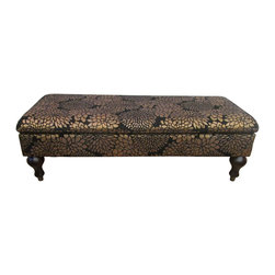 Gold and Black Storage Ottoman - This is a great storage ottoman and it is on wheels!!  Is perfect for a little storage in a living room or at any door.  Imagine how this would look as a coffee table, simply lovely.  It has a great gold flower on a black background.  This is a great look in any décor.