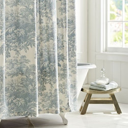 Matine Toile Shower Curtain - I'm loving this classic pattern and the fact that it comes in three different colors. This is a perfect option for a country-style bathroom, especially when paired with a claw-foot tub.