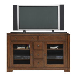 Winners Only - Americana 54 in. Media Base - Two glass doors. Two top drawers. Three center drawers. Wood shelves. Americana cherry finish. 54 in. W x 19 in. D x 36 in. H