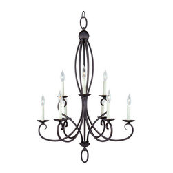 """Sea Gull Lighting - Sea Gull Lighting 31075 Wrought Iron 9 Light Up Lighting Chandelier from the Pem - Subtle flecks of color bring this hand painted peppercorn finish to life or Sweeping curves in brushed nickel finish - a soft, contemporary touchOverall Height with Chain: 161"""", 12 feet of wire pre-laced through 10 feet of chain9 60w Candelabra Base Required (Not Included)"""