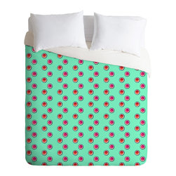 DENY Designs - Laura Redburn Circle Spot Dot Mint Duvet Cover - Turn your basic, boring down comforter into the super stylish focal point of your bedroom. Our Luxe Duvet is made from a heavy-weight luxurious woven polyester with a 50% cotton/50% polyester cream bottom. It also includes a hidden zipper with interior corner ties to secure your comforter. it's comfy, fade-resistant, and custom printed for each and every customer.
