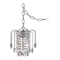 "Vienna Full Spectrum - Crystal Nicolli Clear Crystal 8"" Wide Swag Plug-In Mini Chandelier - Sparkling clear crystal accents dangle from upreaching arms off of tiny beaded crystal chains in this magnificent swag pendant. The body chain hardware and ceiling canopy shimmer in brilliant chrome finish. This dual mount style swag light can be plugged in and hung from a hook or mounted to the ceiling as a fixture. Clear crystal swag pendant light. Chrome finish body chain and ceiling canopy. Dual mount style - plug in or mount on ceiling. Maximum 40 watt bulb (not included). 8"" wide. 9"" high. Includes 10' chain and 15' cord. Swag mounting hardware included.  Clear crystal swag pendant light.   Chrome finish body chain and ceiling canopy.   Dual mount style - plug in or mount on ceiling.   From the Vienna Full Spectrum chandelier collection.  Maximum 40 watt bulb (not included).  8"" wide.   9"" high.   Includes 10' chain and 15' cord.   Swag mounting hardware included."