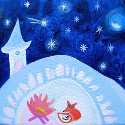 Mr. Fox And The Stars. Original Painting On Canvas By Keira Lagunas - Small original, hand painted acrylic painting.