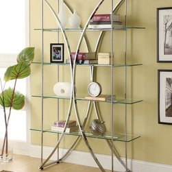 Coaster - Chrome Contemporary Bookcase - Contemporary metal shelf with floating style glass in a beautiful chrome finish.