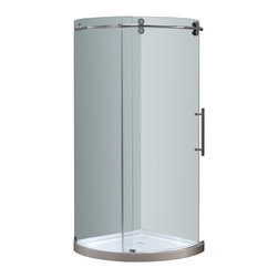 Aston - Aston 40x40x77.5, Completely Frameless Round Shower, Chrome Right Opening - The SEN980 Completely Frameless Round Shower Door Enclosure is a engineering masterpiece that will instantly upgrade the style and feel of your bath. Constructed of durable 8mm ANSI-certified tempered clear glass, 4-wheel industrial chic smooth sliding mechanism, stainless steel or chrome finish hardware, and premium clear leak-seal edge strips, the SEN980 is the optimal, beautiful choice for a corner shower renovation . This model includes the matching 2.5