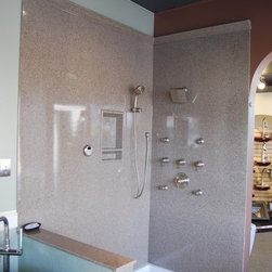 Showroom - Kohler Shower Base with Onyx Walls and Moen Faucets
