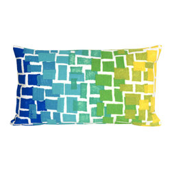 """Trans-Ocean Inc - Ombre Tile Cool 12"""" x 20"""" Indoor Outdoor Pillow - The highly detailed painterly effect is achieved by Liora Mannes patented Lamontage process which combines hand crafted art with cutting edge technology. These pillows are made with 100% polyester microfiber for an extra soft hand, and a 100% Polyester Insert. Liora Manne's pillows are suitable for Indoors or Outdoors, are antimicrobial, have a removable cover with a zipper closure for easy-care, and are handwashable.; Material: 100% Polyester; Primary Color: Blue;  Secondary Colors: green, white, yellow; Pattern: Ombre Tile; Dimensions: 20 inches length x 12 inches width; Construction: Hand Made; Care Instructions: Hand wash with mild detergent. Air dry flat. Do not use a hard bristle brush."""