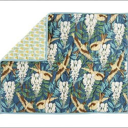 Scalloped Organic Cotton Patchwork Sham, Standard - Our Scalloped Organic Patchwork Quilt captures the spirit of art nouveau, with its flowing, curvilinear forms and stylized botanicals.All-cotton quilt is hand made.Organic cotton cambric quilted over all-cotton batting.Overlapping fan-shaped patches are edged with porcelain-blue piping.Quilt reverses to solid blue.Shams feature a different print on each side and side ties for easy reversibility.Inserts sold separately.Machine washable.Watch a video on {{link path='/stylehouse/videos/videos/pbq_v10_rel.html?cm_sp=Video_PIP-_-PBQUALITY-_-QUILTS_AMERICAN_ART' class='popup' width='950' height='300'}}quilting as an American art form{{/link}}.Catalog / Internet Only.Imported.