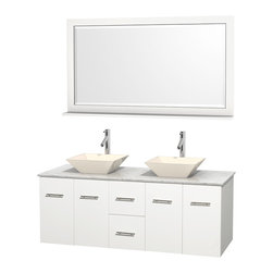 "Wyndham Collection - Centra 60"" White Double Vanity, White Carrera Marble Top, Bone Porcelain Sinks - Simplicity and elegance combine in the perfect lines of the Centra vanity by the Wyndham Collection. If cutting-edge contemporary design is your style then the Centra vanity is for you - modern, chic and built to last a lifetime. Available with green glass, pure white man-made stone, ivory marble or white carrera marble counters, with stunning vessel or undermount sink(s) and matching mirror(s). Featuring soft close door hinges, drawer glides, and meticulously finished with brushed chrome hardware. The attention to detail on this beautiful vanity is second to none."