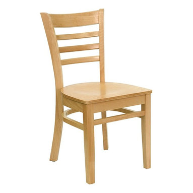 Flash Furniture - Hercules Restaurant Chair w Support Bars - Se - Set of 2. Ladder style back. 0.75 in. thick plywood seat. Curved support bars. Plastic floor glides. Warranty: 2 year limited. Mortise and Tenon style construction. Metal wood screw reinforcements. Made from solid European beech hardwood. Wooden frame in natural finish. Minimal assembly required. Back: 14.5 in. W x 16 in. H. Seat: 16.75 in. W x 16.75 in. D. Seat Height: 17.75 in.. Overall: 20 in. W x 17.25 in. D x 33.75 in. H (24 lbs.)