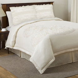 Lush Decor - Lush Decor La Sposa Ivory 4-piece King/Cal King-size Comforter Set - Elevate your bedroom d�cor with this four-piece ivory comforter set from La Sposa. The set is available in both king and California king sizes and features a comforter with a sheer voile design on faux silk,a matching bedskirt,and two pillow shams.