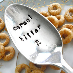 "Vintage Silver-Plated Hand-Stamped Teaspoon, 'Cereal Killer' by The Loose Goose - ""Cereal killer."" Oh boy."