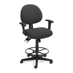 OFM - OFM 24-Hour Task Chair with Arms and Drafting Kit in Charcoal - OFM - Drafting Chairs - 241AADK203 - It's quality ergonomic support with OFM's 241 Series 24-Hour/Multi-Shift Task Stool with Arms. Designed for 24-hour use this stylish stool includes 8 different adjustable