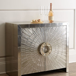 """Jonathan Adler - Talitha Cabinet - METALLIC GRAY - Jonathan AdlerTalitha CabinetDetailsCabinet handcrafted of white metal with a nickel-plated finish.Hand-stamped patterns.Abalone and brass sheet pulls.Navy gloss interior.One sliding tray drawer; one adjustable shelf.36""""W x 18""""D x 32""""T.Imported.Boxed weight approximately 123 lbs. Please note that this item may require additional delivery and processing charges.Designer About Jonathan Adler:Potter designer and author Jonathan Adler launched his first ceramics collection in 1994. His design philosophy: create a foundation of timelessly chic furniture and accessorize with abandon. With his roots still firmly in pottery he has expanded to become a complete lifestyle brand offering furniture lighting decorative objects fashion accessories and more. He is dedicated to bringing style craft and joy to life."""