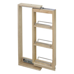 "Hardware Resources - Wall Cabinet Filler Pullout  6"" x 11-1/8"" x 42"" - Wall Cabinet Filler Pullout.  6"" x 11 1/8"" x 42"".  Featuring 100# full extension ball bearing slides  adjustable shelves  and clear UV finish.  Species:  Hard Maple.  Ships assembled with removeable shelves and shelf supports."