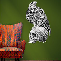 My Wonderful Walls - Red Tailed Skull Wall Sticker Decal – Goth Hawk Artwork by BioWorkZ, Medium - - Product: ornate bird and skull wall sticker decal