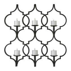 "Uttermost - Uttermost 13998  Zakaria Metal Candle Wall Sconce - Hand forged metal finished in aged black with taupe gray accents. distressed, 3"" beige candles included."