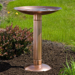 Roman Pillar Copper Pedestal Birdbath - Add a touch of classic architecture to your outdoor space with the Roman Pillar Copper Pedestal Birdbath.