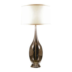 Lamp Works - Glass Hand Blown Crystal Base Table Lamp - Versatile design. Drum shade of finely spun cotton. Clear glass urn. Three way switch. UL approved. Shade made from linen. Shade: 13 - 14 in. W x 10 in. H. Overall: 14 in. Dia. x 34 in. HAn elongated teardrop forms the body of this extraordinarily versatile design. The clean fluid lines easily harmonize with any decor, as does the drum shade of finely spun cotton.