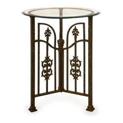 "IMAX - Fortuo Wrought Iron Table with Glass Top - The Fortuo twisted, forged iron bistro table encompasses the beauty and elegance of European gardens surrounding a street side courtyard cafe. Item Dimensions: (30.5""h x 24""d)"