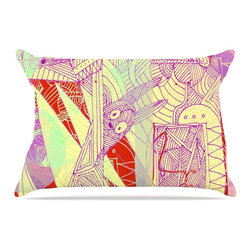 """Kess InHouse - Marianna Tankelevich """"Bunny Land"""" Pink Rabbits Pillow Case, Standard (30"""" x 20"""") - This pillowcase, is just as bunny soft as the Kess InHouse duvet. It's made of microfiber velvety fleece. This machine washable fleece pillow case is the perfect accent to any duvet. Be your Bed's Curator."""