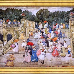 "Maurice Prendergast-16""x24"" Framed Canvas - 16"" x 24"" Maurice Prendergast The Mall, Central Park (also known as Steps, Central Park or The Terrace Bridge, Central Park) framed premium canvas print reproduced to meet museum quality standards. Our museum quality canvas prints are produced using high-precision print technology for a more accurate reproduction printed on high quality canvas with fade-resistant, archival inks. Our progressive business model allows us to offer works of art to you at the best wholesale pricing, significantly less than art gallery prices, affordable to all. This artwork is hand stretched onto wooden stretcher bars, then mounted into our 3"" wide gold finish frame with black panel by one of our expert framers. Our framed canvas print comes with hardware, ready to hang on your wall.  We present a comprehensive collection of exceptional canvas art reproductions by Maurice Prendergast."